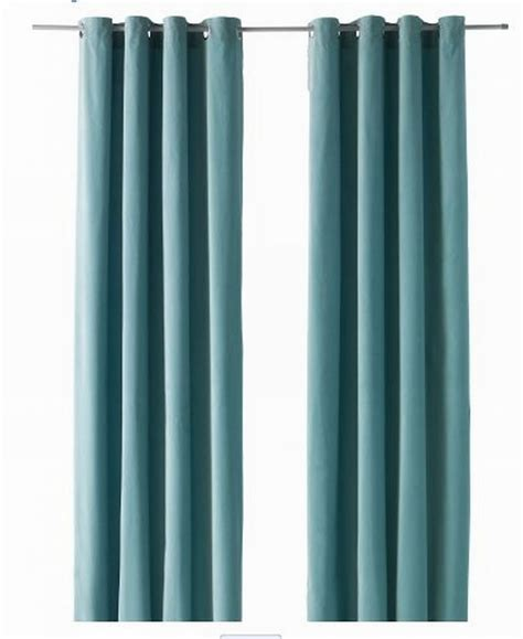 Ikea sanela curtains drapes 2 panels light turquoise velvet 98 quot