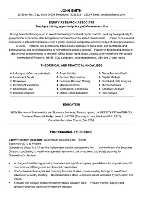 Equity Research Associate Resume Sample Amp Template