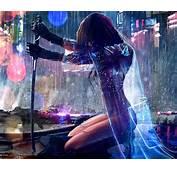 Women Warrior Artwork Sword Rain Cyberpunk