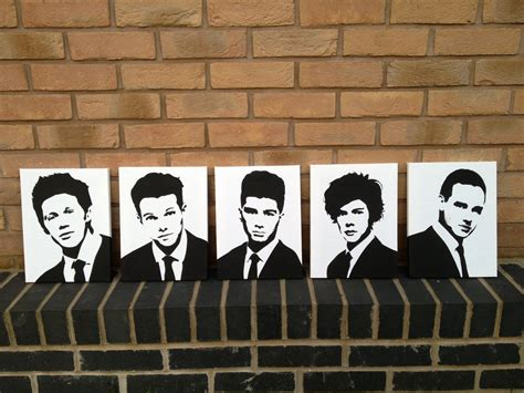 one direction painting one direction 1d spray painted stencils canvas by