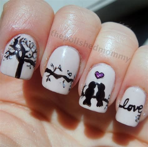 nail art bird tutorial love birds the polished mommy