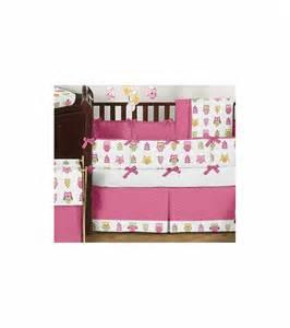 sweet jojo designs owl pink 9 crib bedding set