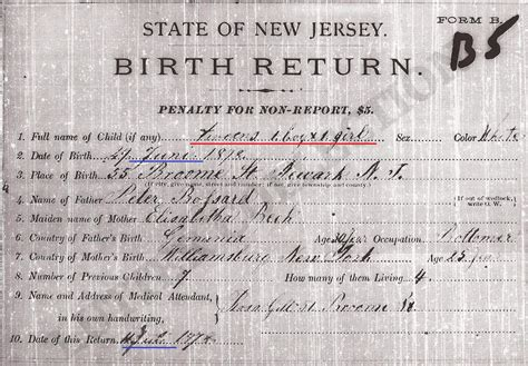 Records Nj New Jersey Counties Birth Certificate Record Family