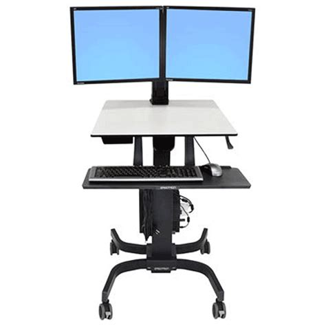 Sit And Stand Computer Desk Ergotron Workfit C Dual Display Sit Stand Computer Cart 24 214 085