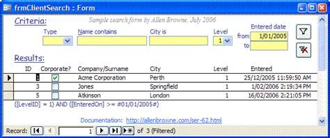 design search form microsoft access tips search criteria