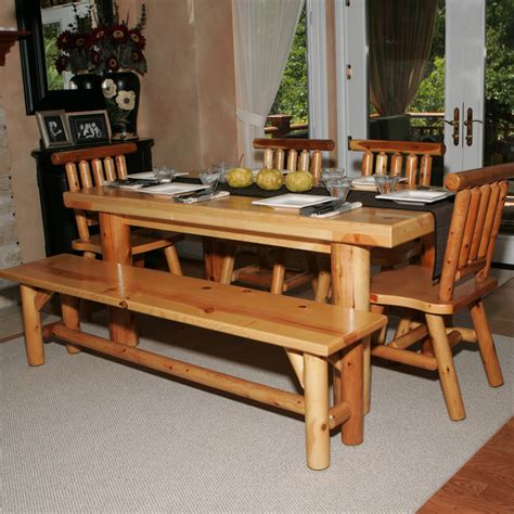 bench and chairs natural lacquer glossy log wood dining table with chairs