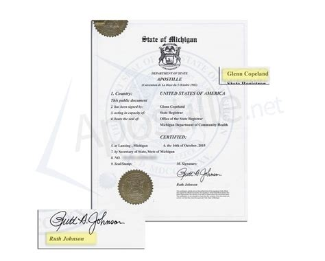 Washtenaw County Marriage License Records State Of Michigan Apostille Issued By Ruth Johnson Of A