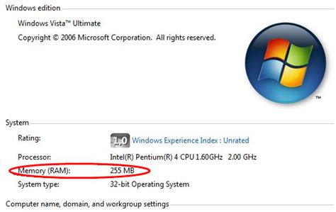 256mb ram available to install windows vista with only 256mb ram