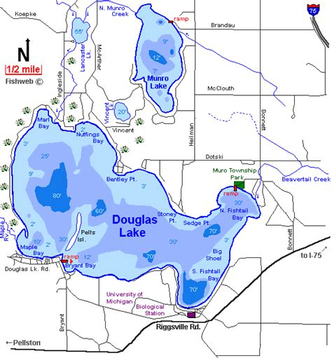 douglas lake bass boat rentals douglas lake map cheboygan county michigan fishing