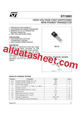 data sheets transistor pdf st13003 datasheet pdf stmicroelectronics