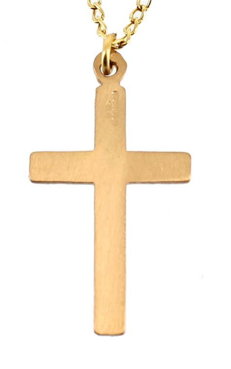 vintage 12k gf gold filled engraved cross pendant necklace