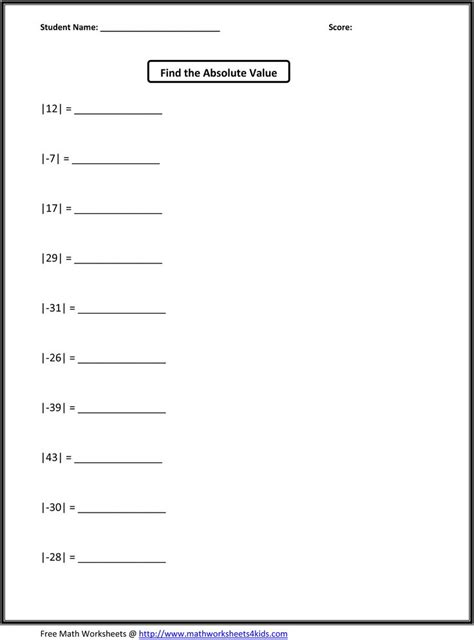 printable math worksheets absolute value fifth grade math worksheets jason school ideas