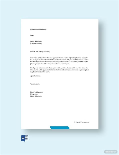 rejection letter interview template word