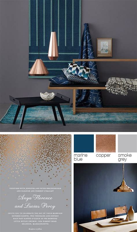 copper room decor copper grey and blue color palette pinteres