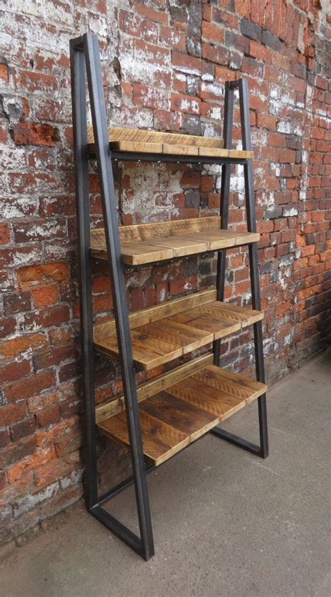 iron and wood bookcase industrial chic reclaimed custom trapezium bookcase media