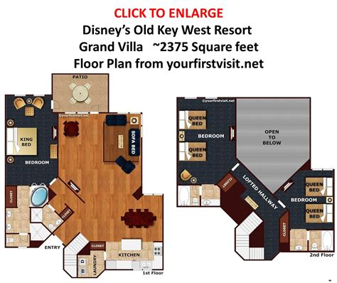disney old key west 2 bedroom villa floor plan overview of accomodations at disney s old key west resort