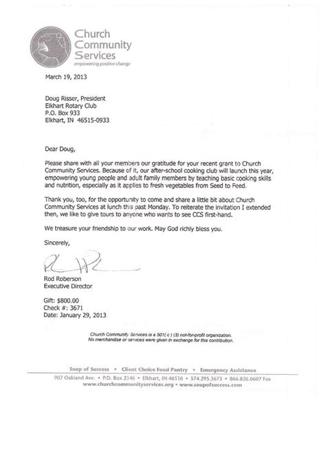 Letter Regarding Community Service Thank You Letter From Church Community Services Rotary Club Of Elkhart