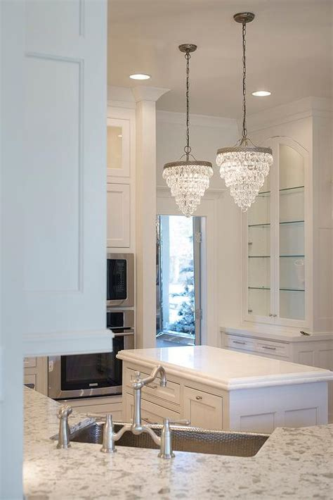 kitchen chandelier lighting pottery barn clarissa crystal drop small round chandeliers