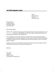 Offer Rejection Letters 11 Decline Offer Letter Letter Template Word