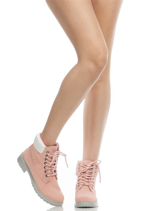 light pink lace up heels light pink faux nubuck lace up hiker boots cicihot boots