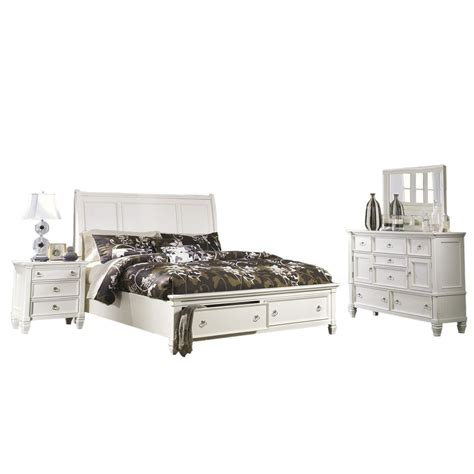 Ashley Furniture Prentice Bedroom Set | ashley furniture prentice sleigh storage bedroom set in white best priced quality furniture in