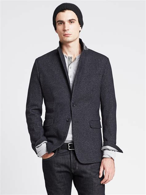banana republic knit blazer banana republic tailored fit navy knit blazer in blue for