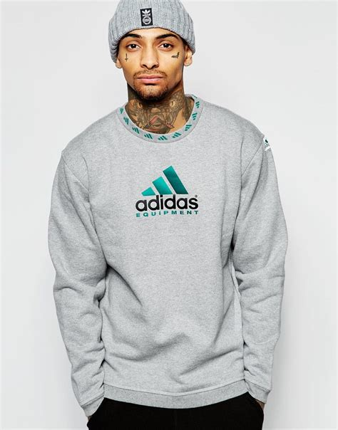 Original Adidas Neo Studio Logo Marble Print Sweatshirt adidas originals equipment logo sweatshirt in gray for lyst