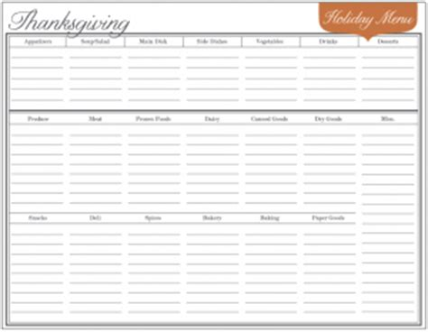 printable holiday meal planner free download event menu planner for holiday meals and