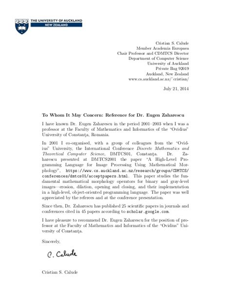 Recommendation Letter From Employer Computer Science Recommendation Letter For Masters In Computer Science Cover Letter Templates