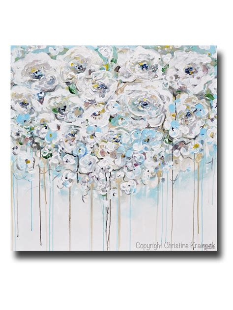 light blue wall decor original art abstract painting floral light blue white