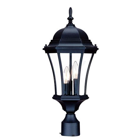 home depot exterior light fixtures acclaim lighting brynmawr 3 light matte black outdoor post mount light fixture 5027bk the home