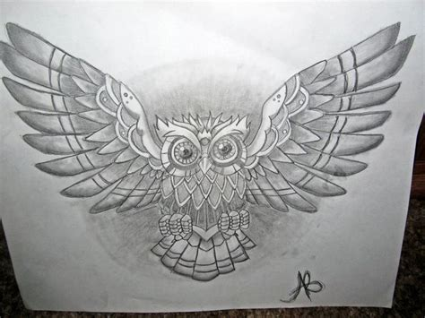 tattoo owl wings geometric open wings owl tattoo on chest real photo
