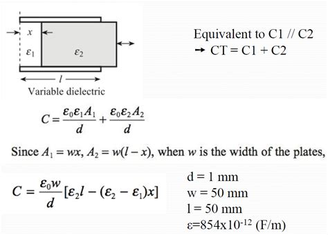 capacitor calculator dielectric a variable dielectric capacitive displacement sens chegg