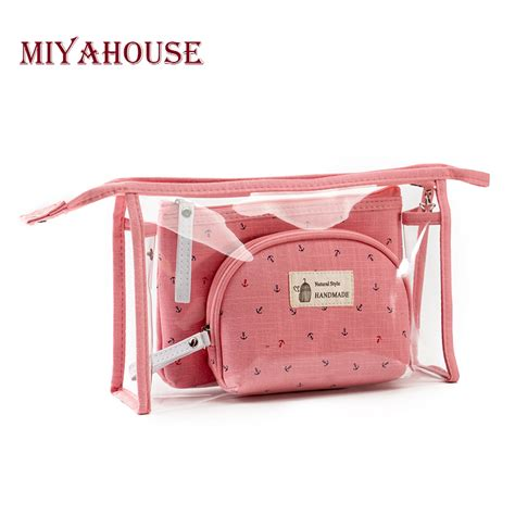 Dompet Kosmetik Pouch Cosmetic miyahouse 3pcs set fashion brand cosmetic bags waterproof neceser portable make up bag pvc