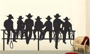 cowboy wall stickers cowboys on fence western decal boys wall decal by