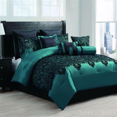 teal color comforter sets 10 satin teal black flocked comforter set king size