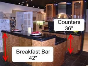 Kitchen countertop height 36 total breakfast bar height 42
