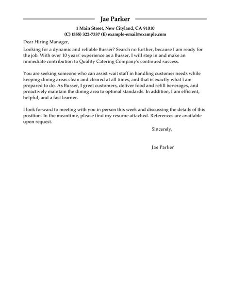cover letter for busser exle resume exle cover letter of a busser
