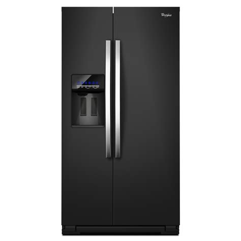 shop whirlpool 26 36 cu ft side by side refrigerator with single maker black energy