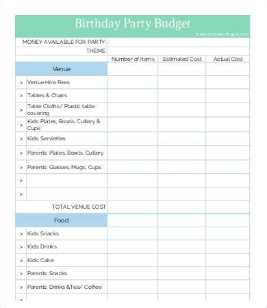 party budget template 8 free word pdf documents