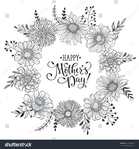 black and white s day card template mothers day greeting card template happy stock vector