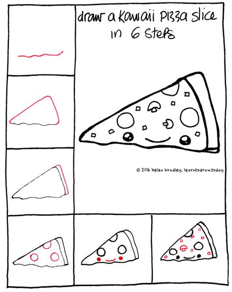how to do doodle today learn to draw a kawaii pizza slice in 6 steps learn to draw