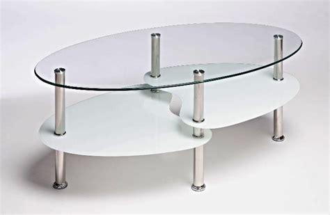 white oval glass and steel cara coffee table