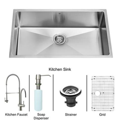 vigo 32 quot x 19 quot zero radius single bowl kitchen sink with