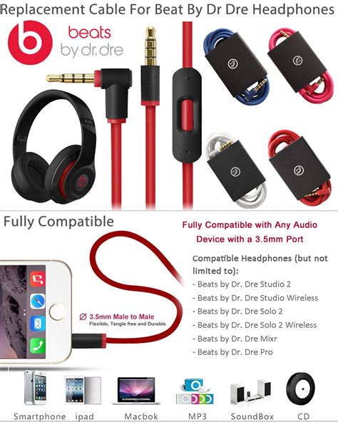 Dr Dre Detox Headphones Repair by Replacement Audio Cable Cord Wire W Mic For Beats By Dr