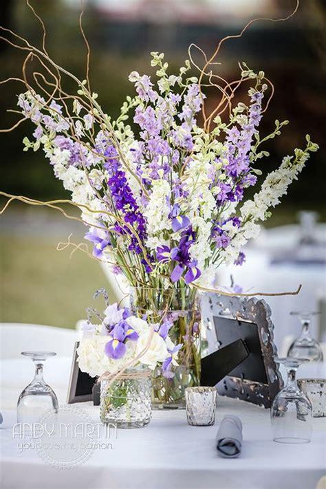 purple lavender  white centerpiece mason jars  white