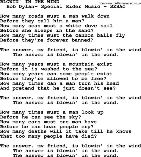 testo blowing in the wind paul and song blowin in the wind lyrics
