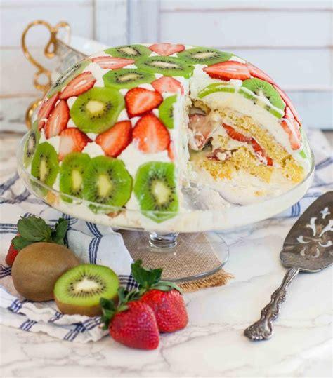 strawberry kiwi trifle cake recipe video tatyanas