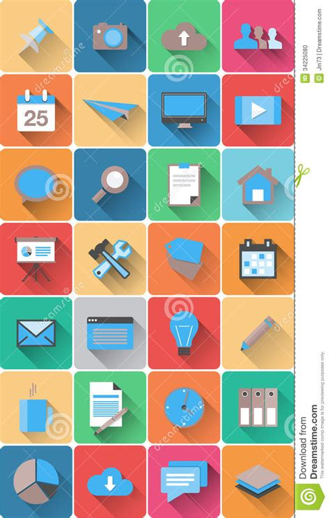flat design icon download set of web icons in modern flat design stock vector