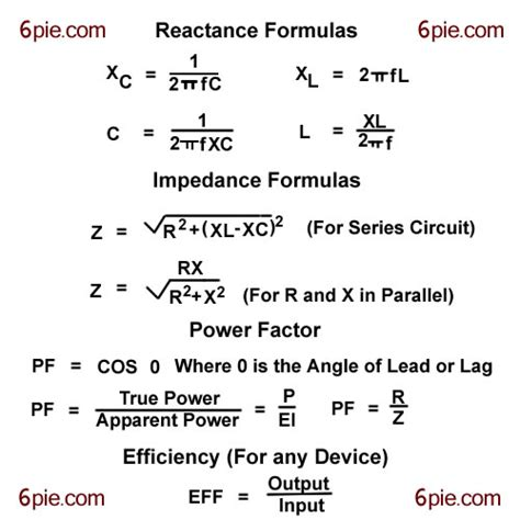 capacitive reactance power reactance impedance efficiency and power formulas for sinusoidal circuit
